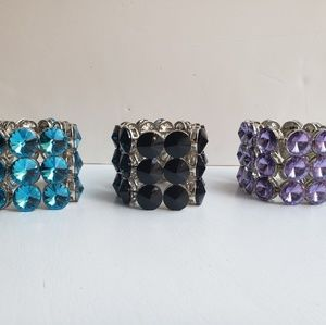 Three banded faceted crystal stretch bracelets
